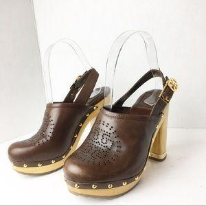 SZ 5.5 Tory Burch Leather Logo Mule Heels